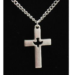 Pewter Cross with Dove Center Pendant