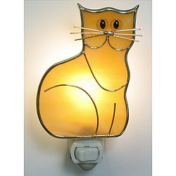 Kitten Night Light in Real Stained Glass