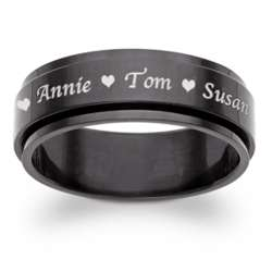 Black Stainless Steel Top-Engraved Name Spinner Band