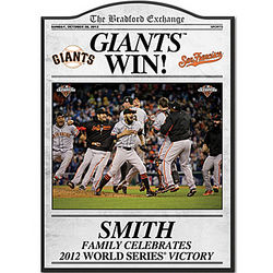 2012 World Series San Francisco Giants Personalized Plaque
