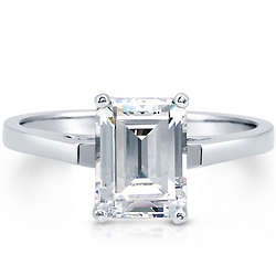 Sterling Silver Emerald Cut Cubic Zirconia Solitaire Ring