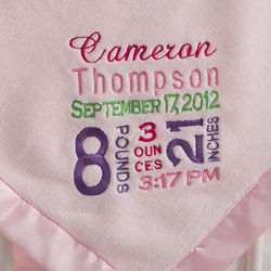 Personalized Pink Birth Announcement Baby Girl Blanket