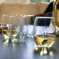 Personalized Stemless Wine Glasses Set