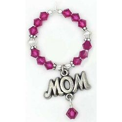 Mom Crystal Bead Wine Charm