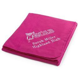 Graduation Bright Pink Fleece Blanket