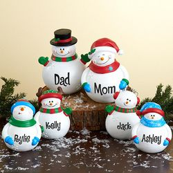 Personalized Snowman Resin Figurine