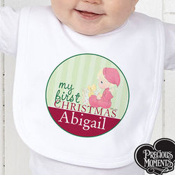Personalized Precious Moments First Christmas Baby Bib