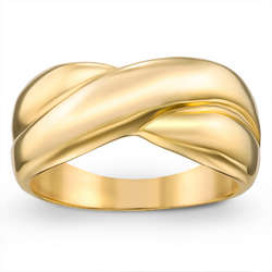 Polished Gold-Plated Criss Cross Ring