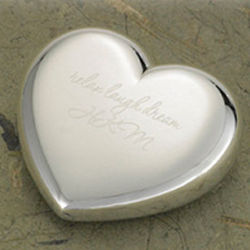 Silver-Plated Heart Paperweight