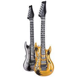 Inflatable Silver and Gold Rock Guitars
