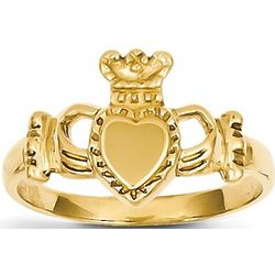 14k Yellow Gold Irish Claddagh Ring