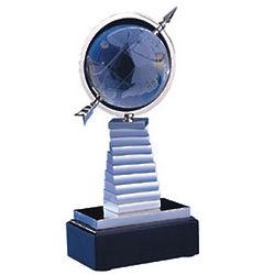 Crystal Globe on Books Sculpture