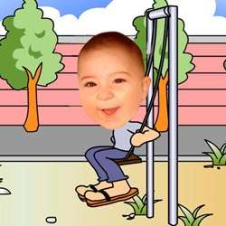 Your Photo in a Backyard Swing Caricature