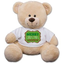 Personalized Merry Christmas Plush Teddy Bear