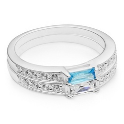 Sterling Birthstone Double Stack Rings with Keepsake Box