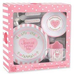 Jesus Loves Me 5-Piece Melamine Children's Meal-Time Set in Pink
