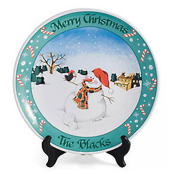Personalized Round Snowman Holiday Plate