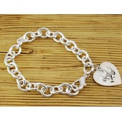 Deluxe Bracelet with Heart and Dove Charm