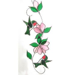 Ruby Throated Hummingbird Stained Glass Scroll