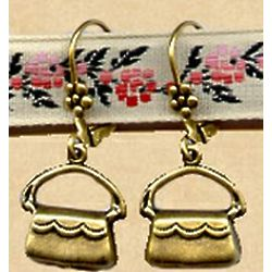 Antiqued Replica Brass Purse Earrings