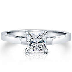 Sterling Silver Princess Cut Cubic Zirconia Solitaire Ring