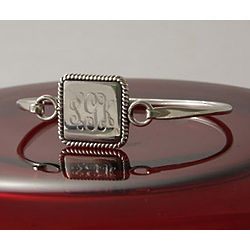 Personalized Braided Square Bangle