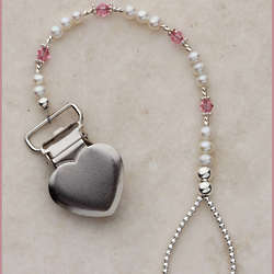 Pink and Pearl Sterling Silver Heart Binky and Pacifier Clip