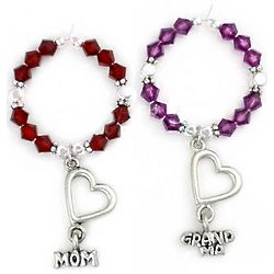Mom or Grandma Crystal Wine Charms
