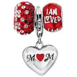 Mom's I Am Loved Crystal Heart Charm