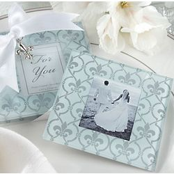 Fleur-de-lis Border Frosted Glass Photo Coaster Favors