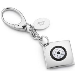 Compass Key Chain with Engravable Tag