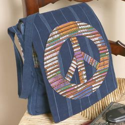 Peace Sign Denim Messenger Bag