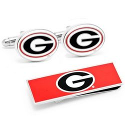 Georgia Bulldogs Cuff Links and Money Clip Gift Set