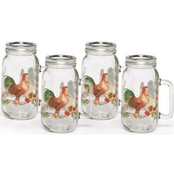 Rooster Meadow Glass Mason Jar Drinking Glasses Set