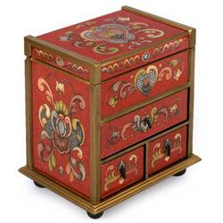 Crimson Heart Flowers Painted Glass Jewelry Box