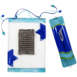 Fused Glass Blue Star Baby Blessing and Mezuzah Set