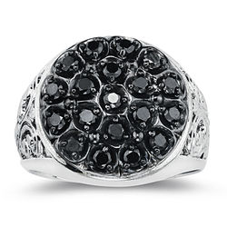 0.97 Ct Black Diamond Mens Ring in Silver