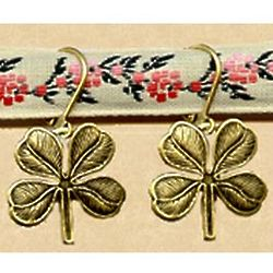 Antiqued Replica Brass Clover Earrings