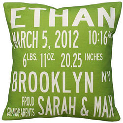 Custom Birth Announcement Pillow