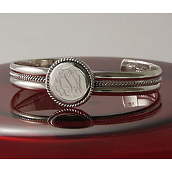 Personalized Braided Round Cuff Bracelet with Silver Trim