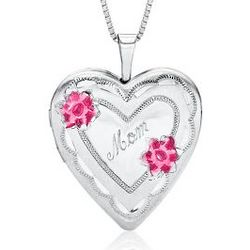 Mom Heart Locket with Pink Roses in Sterling Silver