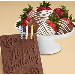 Chocolate Birthday Card a Half Dozen Strawberries