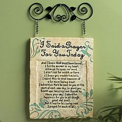 I Said a Prayer Poetry Plaque