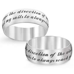Sterling Silver I Can't Change Direction of Wind Sentiment Band