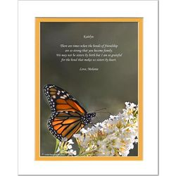 Personalized Monarch Butterfly Print with Friendship Poem