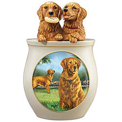 Linda Picken Sculpted Lid Golden Retriever Cookie Jar