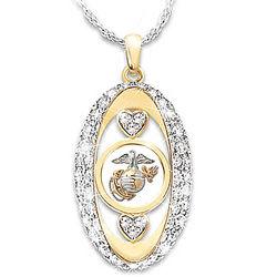 USMC Engraved Swarovski Crystal Pendant Necklace