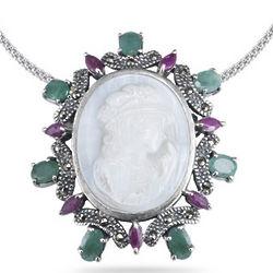 Emerald & Ruby Marcasite Cameo Pendant in Silver