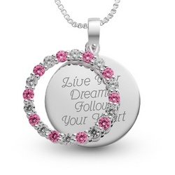July Birthstone Circle Pendant Necklace