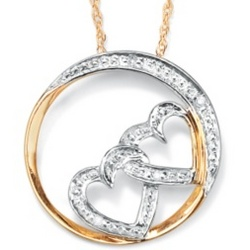 Diamond Accent Double-Heart Eternity Pendant
